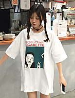 Damen Druck Einfach Lässig/Alltäglich T-shirt,Rundhalsausschnitt Frühling Sommer Kurzarm Baumwolle Dünn