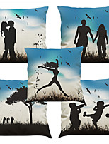Set of 5 Couple Silhouette Pattern  Linen Pillowcase Sofa Home Decor Cushion Cover (18*18inch)