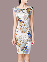 Women's Plus Size Going out Simple Sheath Dress,Print Round Neck Above Knee Sleeveless Nylon Summer Mid Rise Micro-elastic Medium