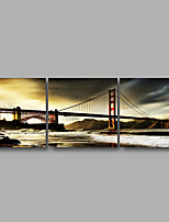 Stretched Canvas Print Three Panels Canvas Wall Decor Home Decoration Abstract Modern Bridge City
