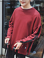 Men's Going out Sweatshirt Solid Round Neck Micro-elastic Cotton Long Sleeve Fall