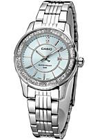 Casio Mulheres Relógio de Moda Relógio de Pulso Japanês Quartzo Impermeável Aço Inoxidável Banda Casual Prata