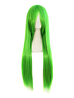 Green Ombre Color Wig Synthetic Wigs Red Color Straight Hair Cosplay Synthetic Wigs