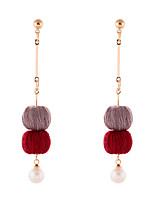 Lureme Handmade Simple Gold Long Chain with Burgundy and Grey Pom Pom Dangle Earrings