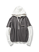 Men's Casual/Daily Simple Hoodie Solid Hooded Micro-elastic Cotton Long Sleeve Fall
