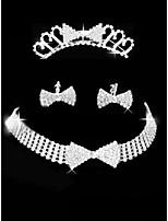 Set de Bijoux Strass Amour Strass Forme de Noeud 1 Collier 1 Paire de Boucles d'Oreille 1 Bijou de Cheveux PourMariage Soirée Occasion
