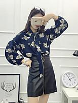 Feminino Blusa Para Noite Férias Vintage Moda de Rua Primavera Verão,Sólido Floral Algodão Assimétrico Manga Longa Fina