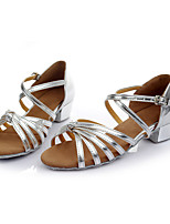 Customizable Women's Dance Shoes Leatherette Latin Flats Customized Heel Indoor Silver