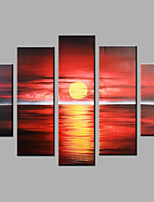 Hand-Painted Abstract Modern Five Panels Canvas Sunrise At Sea Oil Painting  For Home Decoration