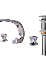 Contemporary Widespread Clawfoot with  Brass Valve Two Handles Three Holes for  Chrome , Bathroom Sink Faucet