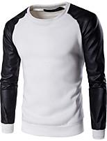 Sweatshirt Homme Décontracté / Quotidien Sportif Actif simple Couleur Pleine Col Arrondi Micro-élastique Rayonne Printemps Automne
