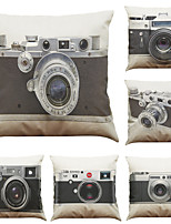 Set of 6 Retro Camera Pattern Linen Pillowcase Sofa Home Decor Cushion Cover  Throw Pillow Case (18*18inch)