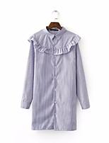 Damen Gestreift Einfach Lässig/Alltäglich Hemd,Quadratischer Ausschnitt Langarm Andere