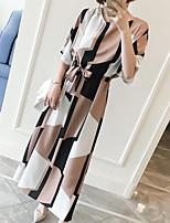 Для женщин На каждый день Офис Большие размеры Винтаж Простое Очаровательный Прямое Платье Геометрический принт,Круглый вырезМакси До
