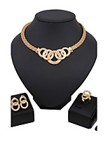Jewelry Set Bridal Jewelry Sets Rhinestone Euramerican Fashion Classic Rhinestone Zinc Alloy Circle Gold1 Necklace 1 Pair of Earrings 1