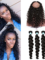 360 Lace Frontal With Bundle Pre Plucked 8A Loose Wave 360 Lace Frontal Closure With Bundles Peruvian Virgin Lace Frontal Weave