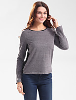 Women's Going out Casual/Daily Holiday Simple Cute Street chic T-shirt,Patchwork Round Neck Long Sleeve Polyester