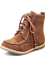Women's Boots Winter Comfort Leatherette Dress Casual Flat Heel Lace-up Brown Yellow Black