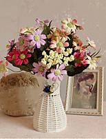 2 Ramo Poliéster Margaridas Flor de Mesa Flores artificiais