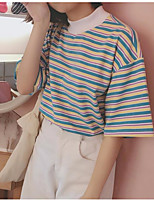 Women's Casual/Daily Simple T-shirt,Striped Crew Neck Short Sleeve Cotton