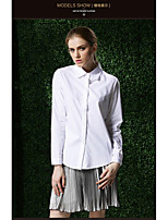 Women's Work Simple Shirt,Solid Shirt Collar Long Sleeve Cotton