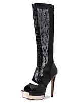 Damen-Stiefel-Büro Kleid Party & Festivität-Tüll PU-Stöckelabsatz-D'Orsay und Zweiteiler-