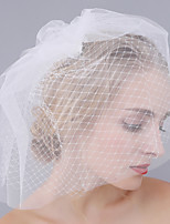 Handmade Wedding Veil Two-tier Blusher Veils Cut Edge Tulle & Net