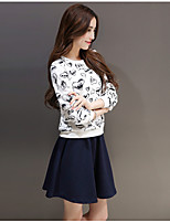 Women's Casual/Daily Simple Spring Hoodie Skirt Suits,Polka Dot Round Neck Long Sleeve Cotton