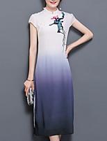Women's Plus Size Going out Vintage Sheath Dress,Print Stand Midi Short Sleeve Silk Polyester Summer Mid Rise Micro-elastic Medium