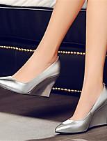 Mujer-Tacón Cuña-Confort-Zapatos de taco bajo y Slip-Ons-Informal-PU-Plata Amarillo Azul