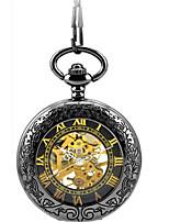Men's Skeleton Watch Pocket Watch Mechanical Watch Automatic self-winding Alloy Band Black