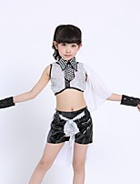 Jazz Outfits Kid's Performance Polyester Sequined 4 Pieces Sleeveless Natural Top Bracelets Shorts
