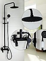 Antique Centerset Rain Shower with  Ceramic Valve Single Handle Three Holes for  Oil-rubbed Bronze  Shower Faucet