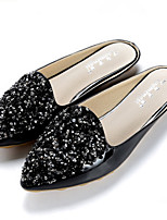 Women's Clogs & Mules Summer Slingback PU Dress Casual Flat Heel Almond Black
