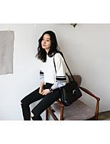 Damen Standard Pullover-Lässig/Alltäglich Solide Gestreift Rundhalsausschnitt Langarm Baumwolle Frühling Mittel Mikro-elastisch