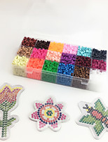 Approx 5400PCS 18 Color 5MM Fuse Beads Set with 3PCS Random Mixed Shape Template Clear Pegboard Flower Bee Butterfly DIY Jigsaw(Set B 18*300PCS)