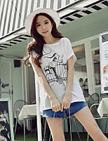 Dames Schattig Street chic Verfijnd Zomer T-shirt,Uitgaan Casual/Dagelijks Vakantie Print Ronde hals Korte mouw Katoen Spandex