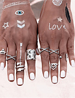 8pcs/Set Fashion Punk Vintage Bohemian Style Anti Silver Color Rings for Women Tibetan Infinity Arrow Punk Boho Rings Set for Men Jewelry Accessories
