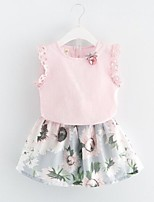Girls' Going out Casual/Daily Striped Patchwork Sets,Cotton Summer Spring Sleeveless Clothing Set