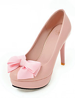 Women's Heels Spring Fall Comfort Leatherette Party & Evening Dress Casual Stiletto Heel Bowknot Blushing Pink Black White