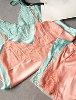 Satin & Soie Costumes Vêtement de nuit Femme,Sexy Dentelle Rétro Solide Polyester
