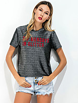 Women's Going out Casual/Daily Simple Street chic Summer T-shirt,Solid Round Neck Short Sleeve Rayon Opaque