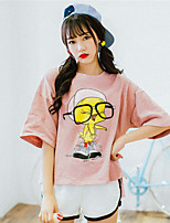 Women's Going out Casual/Daily Holiday Cute Summer T-shirt,Solid Print Round Neck ½ Length Sleeve Cotton Thin