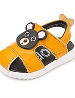 Garçon-Décontracté-Blanc Gris Jaune-Talon Plat-Premières Chaussures-Sandales-Similicuir