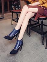 Damen-Stiefel-Lässig-PU-Stöckelabsatz-Komfort-Schwarz Blau