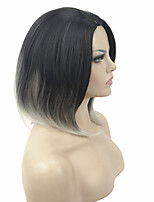 Short Straight Black/silvery Grey Ombre Bob Part No Bangs Full Synthetic Wig