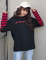 Damen Gestreift Einfach Lässig/Alltäglich T-shirt,Rundhalsausschnitt Langarm Baumwolle Polyester