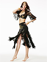 Belly Dance Outfits Women's Chinlon Sequined Draped Lace Sequins 2 Pieces Half Sleeve High Top Skirt