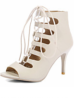 Women's Sandals Summer Comfort Leatherette Party & Evening Dress Casual Stiletto Heel Lace-up Beige Black