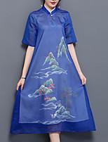 Ample Robe Femme Sortie Grandes Tailles Chic de Rue,Imprimé Mao Midi Manches Courtes Fibre de bambou Polyester Eté Taille Normale